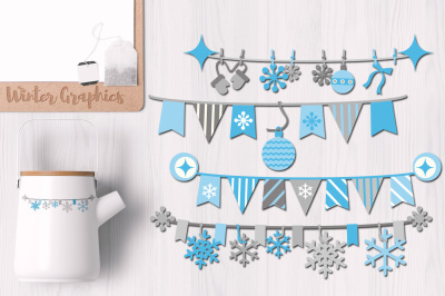 Winter Blue Pennant Banners