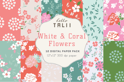 CORAL FLOWERS DIGITAL PAPER