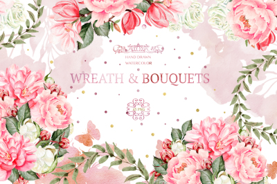45 Watercolor Wreath&Bouquets