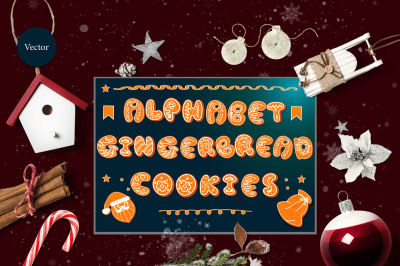 Vector set of gingerbread alphabets. Christmas symbols.