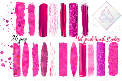 Hot Pink Brush Strokes Clipart