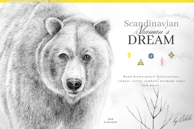 Scandinavian Shaman's Dream: Animals Illustrations and Logos Set