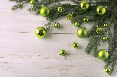 Christmas green balls decoration.