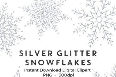 Silver glitter snowflakes clip art