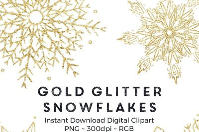 Gold glitter snowflakes clip art