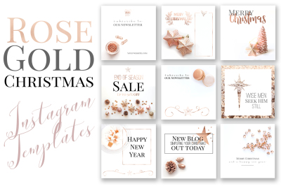 Rose Gold Christmas Instagram Templates