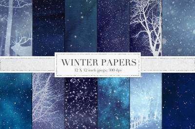 Winter digital paper