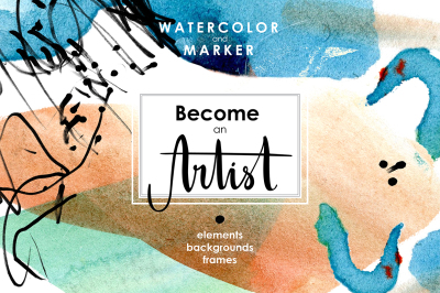 Be an Artist. Watercolor decor kit.