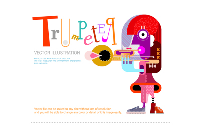 The Musician, Trumpeter vector poster design