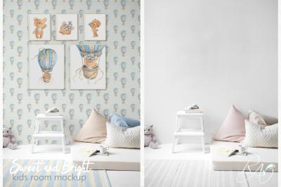 PSD Nursery mockup Kids room mockup Blank wall  Print mockup Poster
