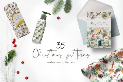 Elegant Christmas patterns. Watercolor bundle