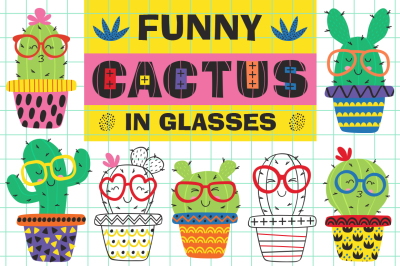 funny cactus in glasses