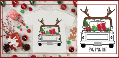 Christmas Truck SVG Christmas SVG Antlers SVG