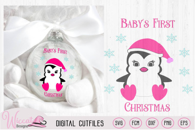 Baby's first Christmas svg, Baby girl penguin svg, Vinyl craft file, W
