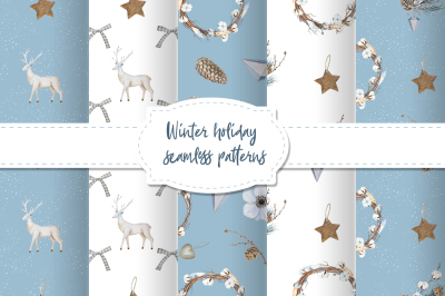 Noel. Winter seamless patterns