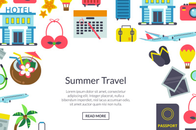 Vector flat travel elements background illustration