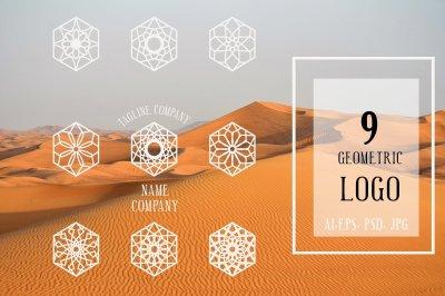 Linear ornamental logo templates set