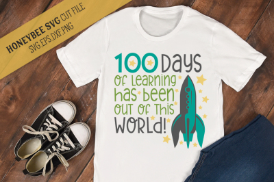 100 Days of Learning Rocket SVG Cut File
