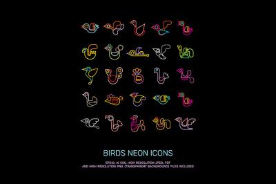 Birds neon colors vector icon set