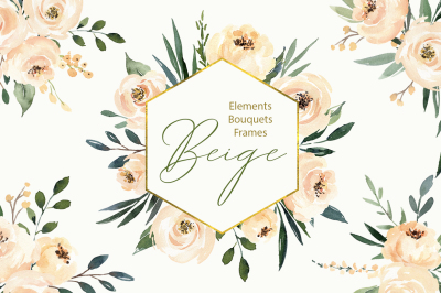 Watercolor Beige Flowers & Leaves, Bouquets and Frames PNG