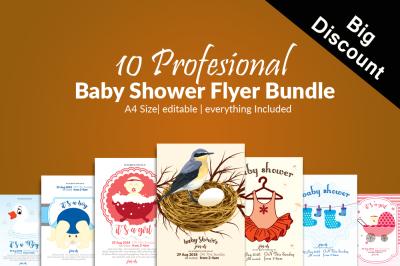 10 Baby Shower Flyers Bundle