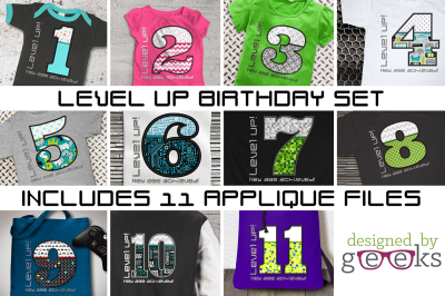 Level Up Video Game Birthday Bundle | Applique Embroidery