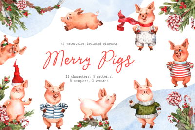 Merry Pigs - Watercolor Clip Art Set