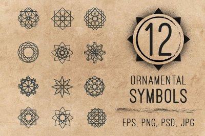 Ornamental logo geometric symbols