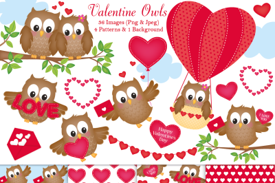 Valentine clipart, Valentine graphics and illustrations, Owls