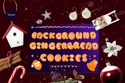 Vector set of backgrounds and seamless patterns. Gingerbread.