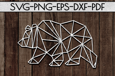 Geometric Bear SVG Cutting File, Nursery Papercut, DXF, PDF