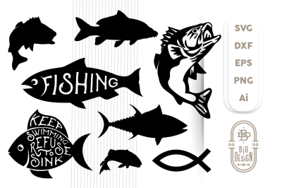 Fish Bundle SVG Cut Files, Bass, Carp, Tuna, Jesus Fish