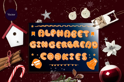 Set of 2 alphabets gingerbread with icing and without.