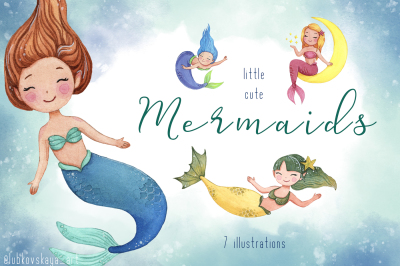 Little Watercolor Cute Mermaids