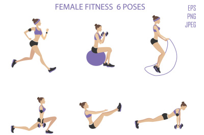 Set of female fitness and yoga