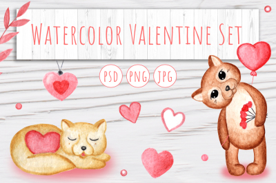Watercolor Valentine Set