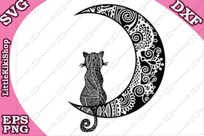 Cat and the Moon Svg, MANDALA CAT SVG
