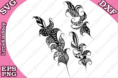 Zentagle Feathers Svg, MANDALA FEATHERS SVG