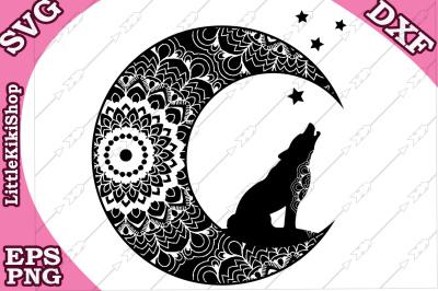 Zentagle Wolf and Moon Svg, MANDALA WOLF SVG