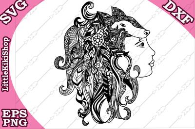 Zentangle Girl Monogram Svg, MANDALA GIRL SVG, Fox Girl cut file