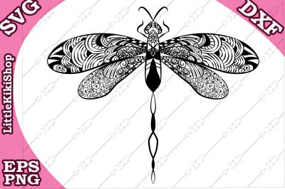 Zentangle Dragonfly Svg, MANDALA DRAGONFLY, Zentangle Insct Svg