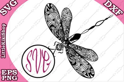 Zentangle Dragonfly Monogram  Svg, MANDALA DRAGONFLY