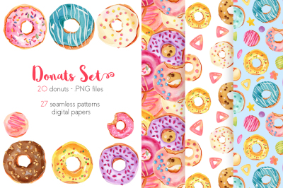 Watercolor Donuts - illustrations, patterns, digital paper