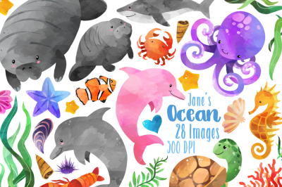 Watercolor Ocean Animals Clipart