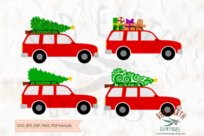 Christmas car, christmas tree bundle in SVG,DXF,PNG,EPS,PDF formats