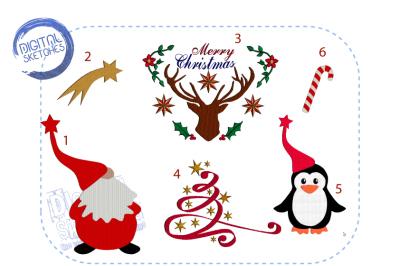 Christmas Machine Embroidery Design Set Merry Christmas Deer Penguin