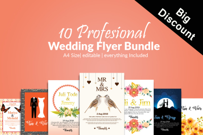 10 Wedding Invitation Cards Bundle