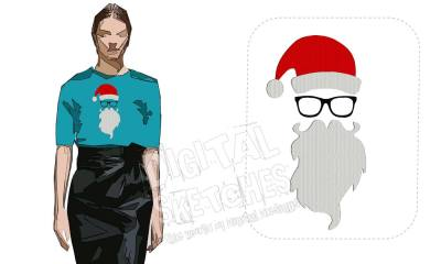 Santa Claus Machine Embroidery Design Christmas Hipster 3 Sizes