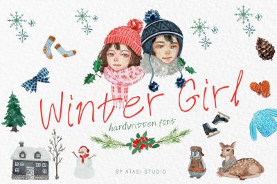Winter Girl Font & Watercolor Winter Theme Bundle