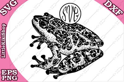 Frog Monogram Svg, MANDALA FROG SVG, Frog cut file